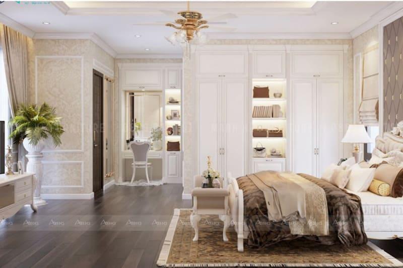 phòng ngủ master của gia chủ được thiết kế vô cùng đẳng cấp và sang trọng
