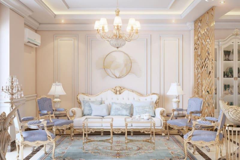 thiết kế nội thất phòng khách theo phong cách tân cổ điện sang trọng