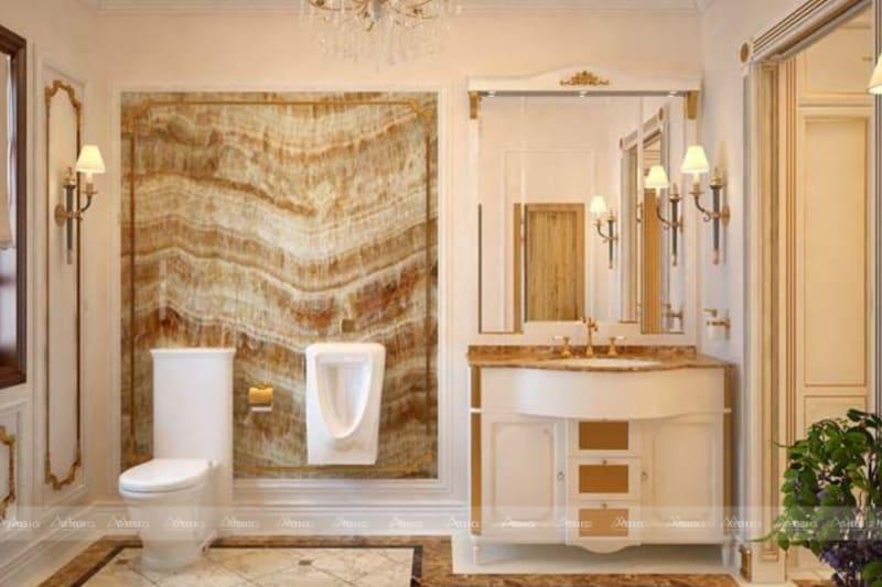 nghệ thuật của sự cổ điển được tô điểm thêm nét quyền quý trong thiết kế nội thất phòng tắm chung cư