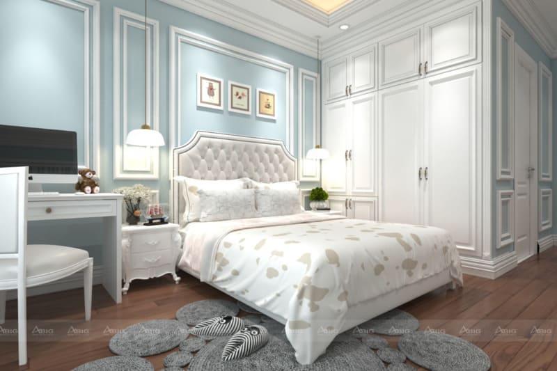 tông màu xanh pastel cá tính kết hơp với nội thất hiện đại cho phòng ngủ
