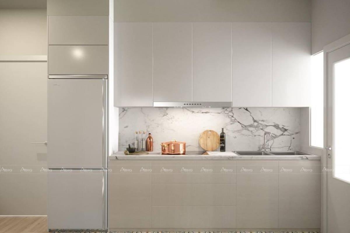 Phòng bếp với tone màu trắng sáng chủ đạo cực sang trọng.
