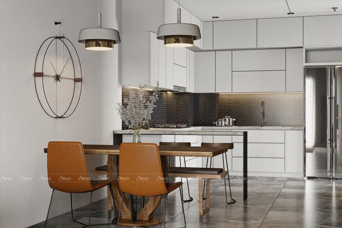 Không gian ăn uống và nấu nướng được liên kết với nhau.