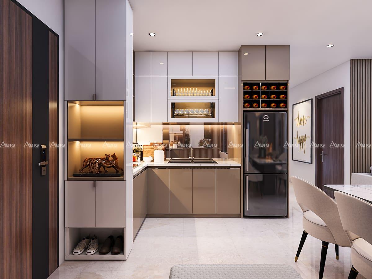 Khu vực bếp được trang bị hệ thống tủ bếp và các thiết bị hiện đại.