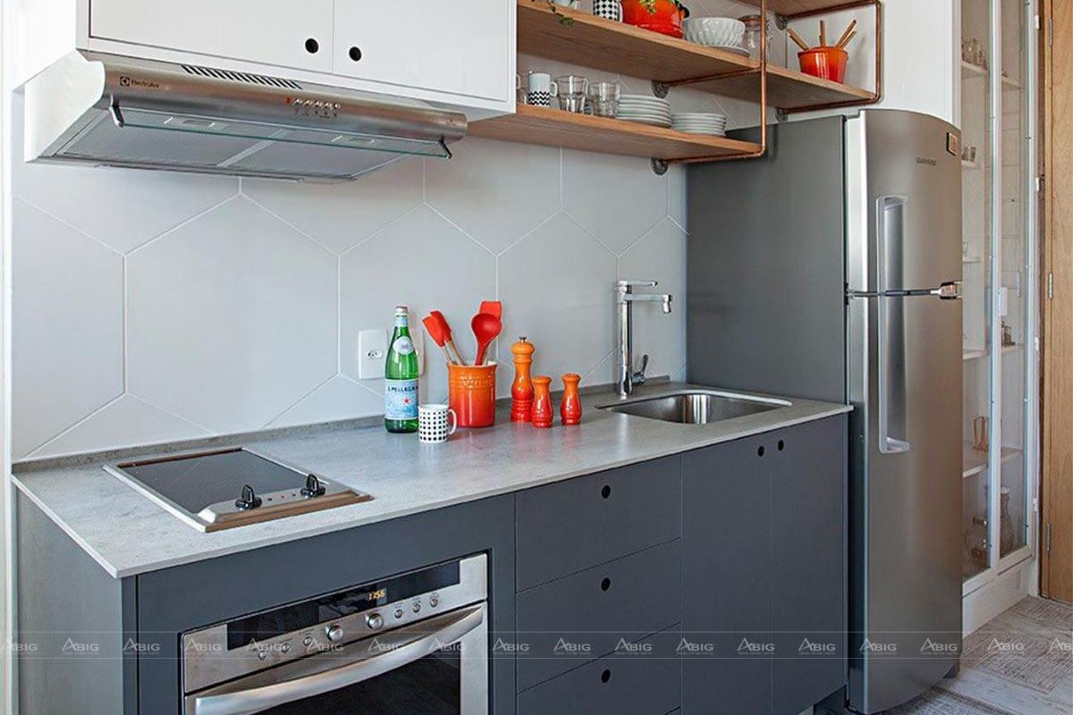 Tủ bếp chữ I với đầy đủ tiện nghi