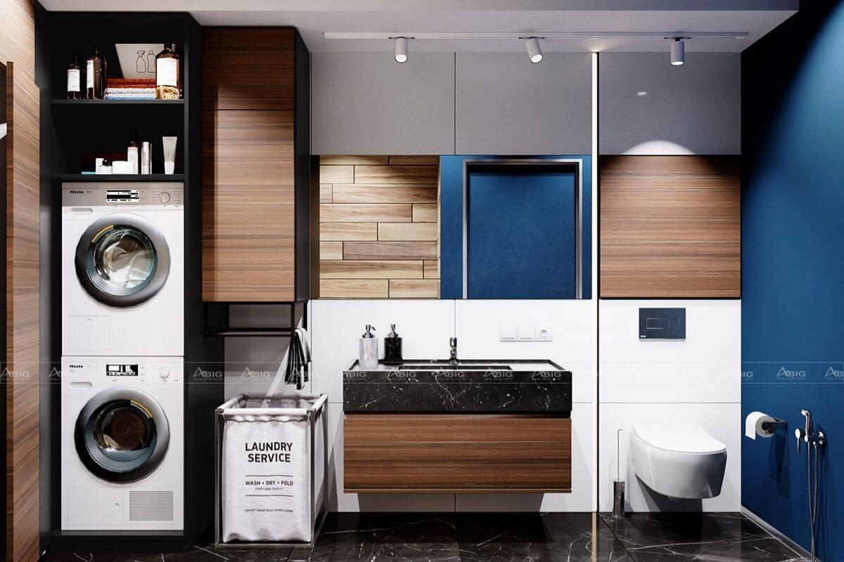 Phòng giặt tích hợp phòng tắm và toilet giúp tiết kiệm kiệm không gian hiệu quả.