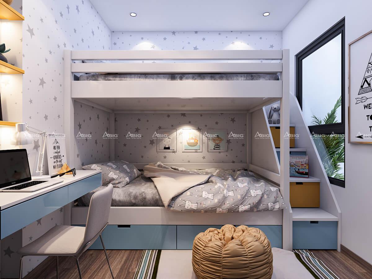 Phòng ngủ thứ 2 dạng xếp tầng độc đáo, trẻ trung cho gia đình có 2 bé nhỏ.