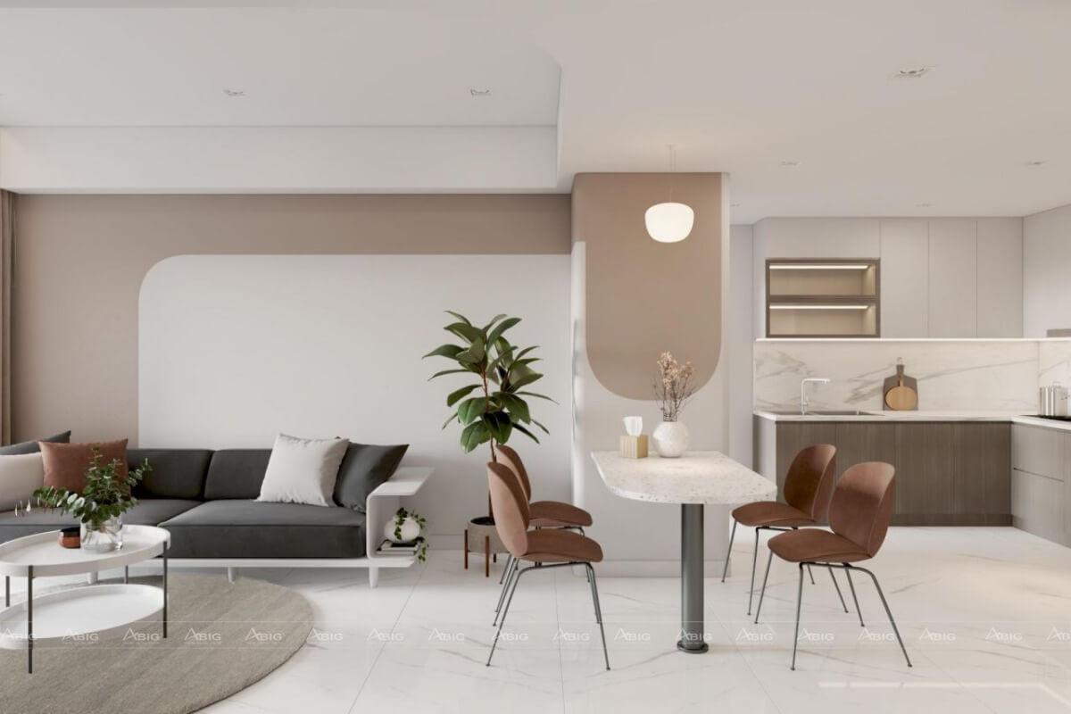 Bếp ăn và phòng khách thông với nhau giúp tối ưu hóa không gian.