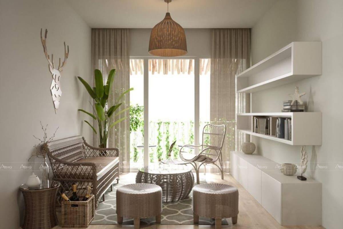 Nội thất màu nâu cùng kiểu dáng độc lạ làm điểm nhấn cho khu vực phòng khách.