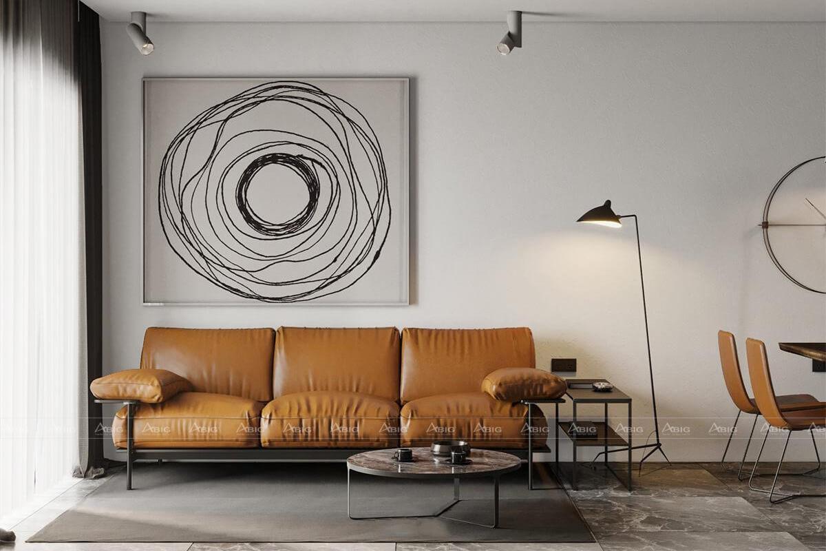 Phòng khách tone xám ghi có nội thất nâu đất tăng sự hài hòa cho tổng thể