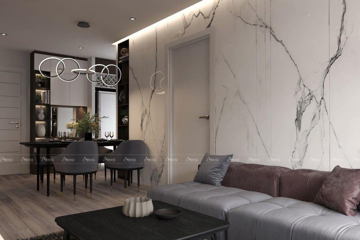 Tấm PVC giả đá giúp căn phòng trông sáng sủa hơn.