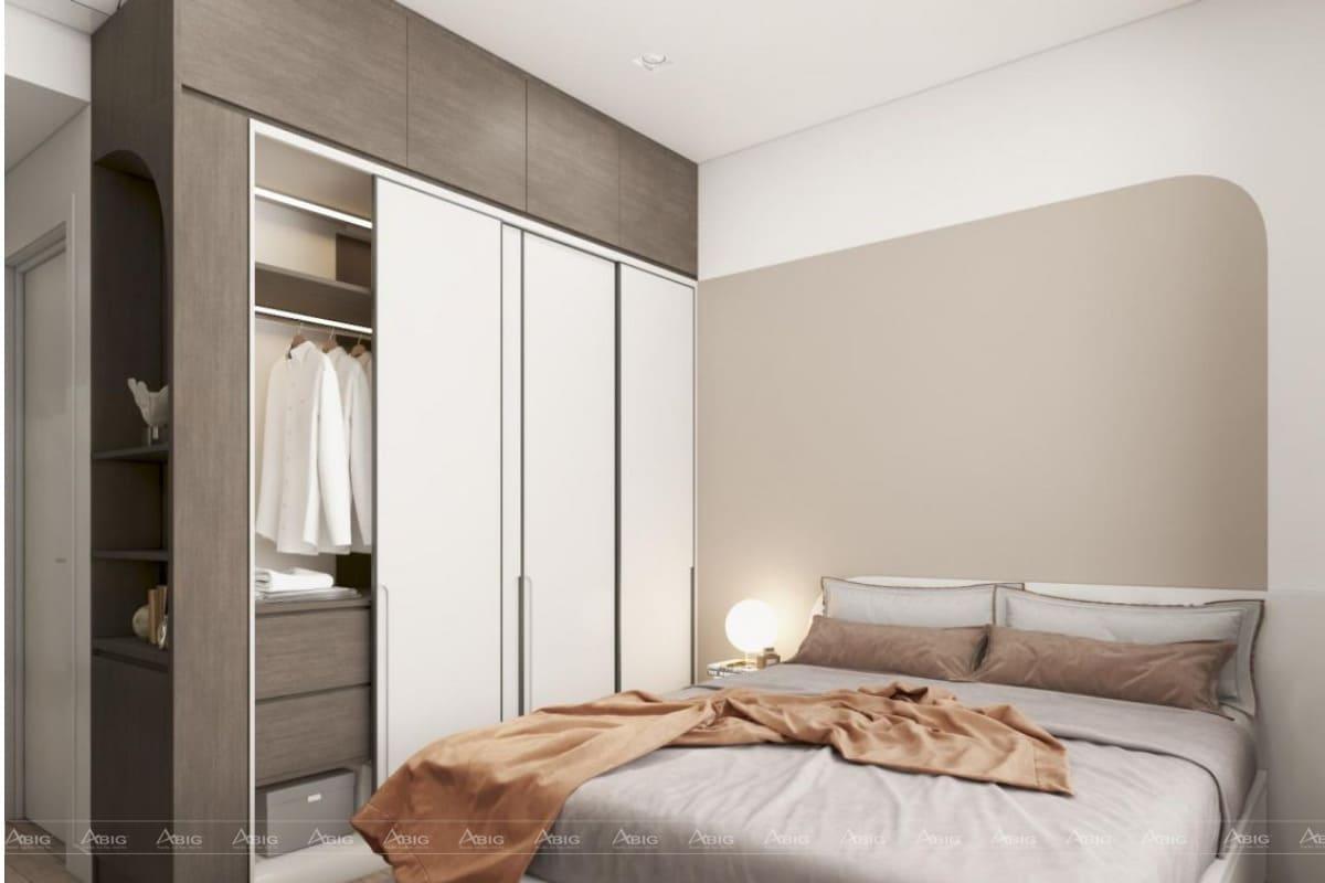 Phòng ngủ đơn giản với tủ âm tường rút gọn diện tích