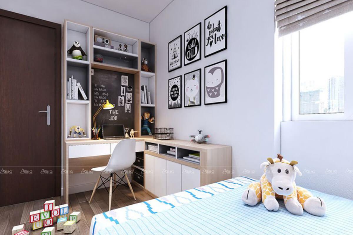 Thiết kế phòng ngủ nhỏ với khu vực học tập cho bé