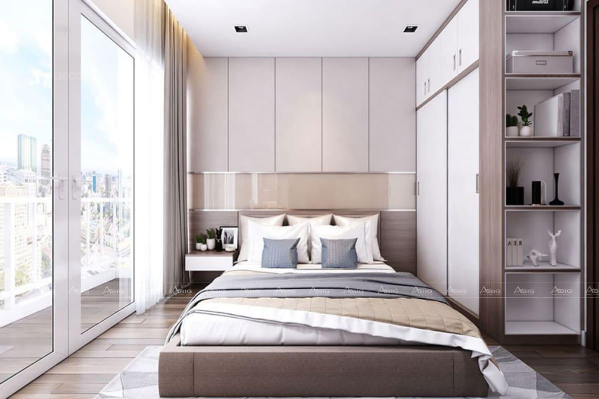 Thiết kế phòng ngủ lớn trong chung cư 60m2 cho 2 vợ chồng.