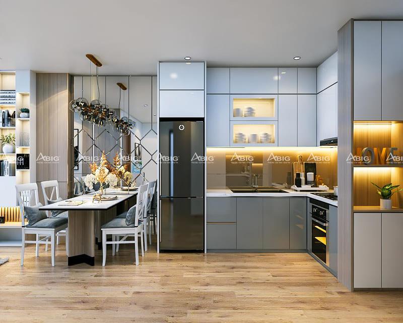 Tủ bếp được thiết kế các ngăn hợp lý đáp ứng công năng sử dụng