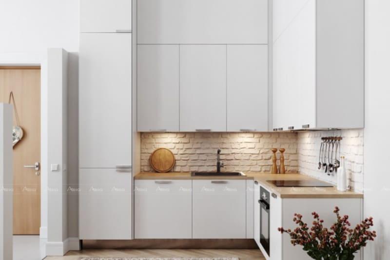 Nội thất phòng bếp tone trắng đúng với tinh thần tối giản