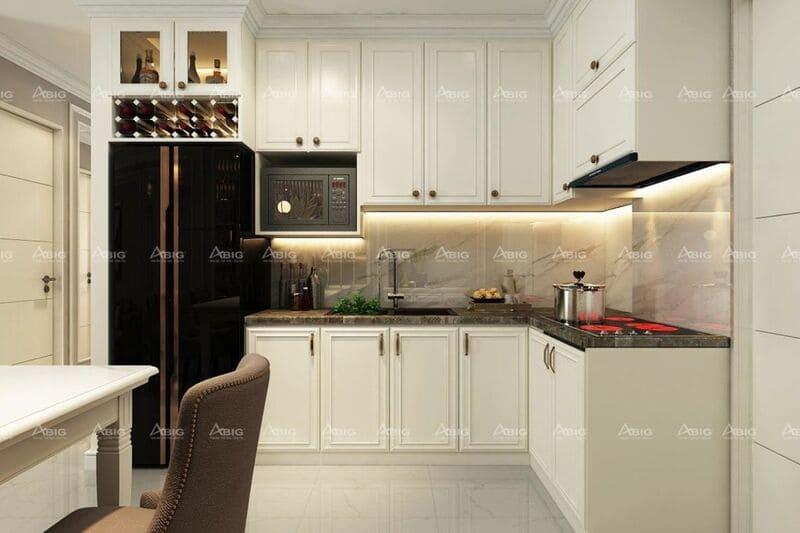 Thiết kế hệ thống tủ bếp với tông màu trắng chủ đạo sang trọng