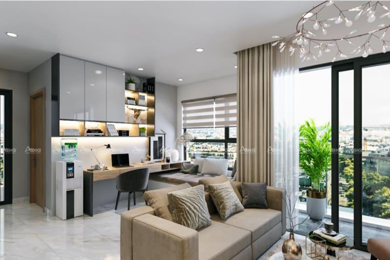 Thiết kế phòng khách liền kề góc làm việc và nghỉ ngơi đầy lý tưởng