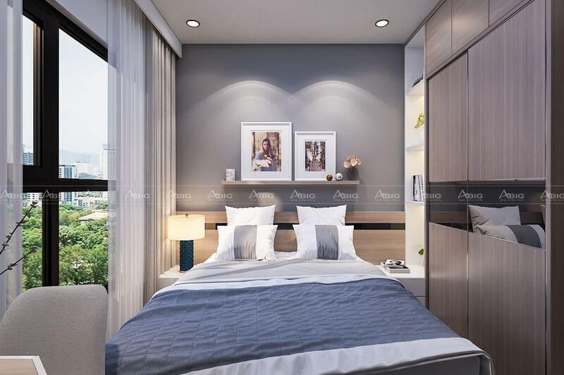 Phòng ngủ master đầy đủ tiện nghi sử dụng tranh treo tường trang trí