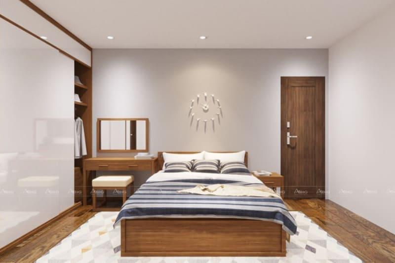 Phòng ngủ Master lớn cho cha mẹ với nội thất óc chó thẩm mỹ cao