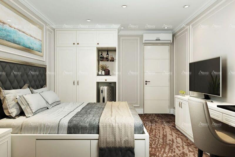 Nội thất trong không gian phòng ngủ được trang bị đầy đủ tiện nghi