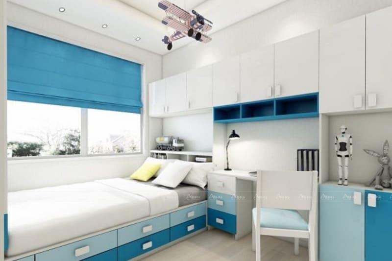 Phòng ngủ nhỏ cho bé trai trong chung cư 70m2