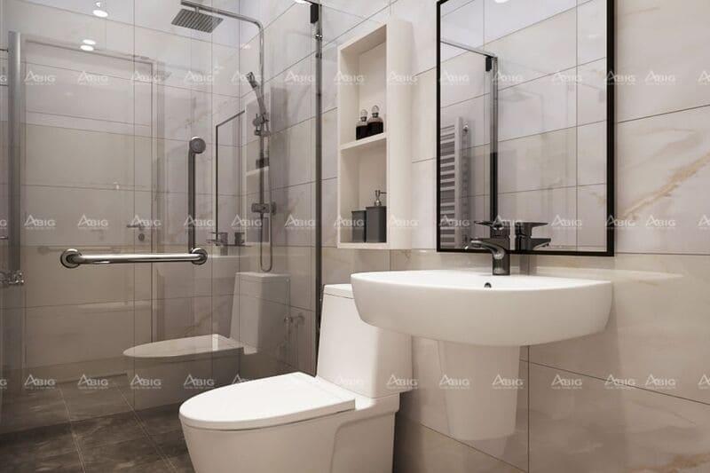 Phòng vệ sinh sử dụng gạch ốp sáng màu giúp không gian thoáng rộng hơn