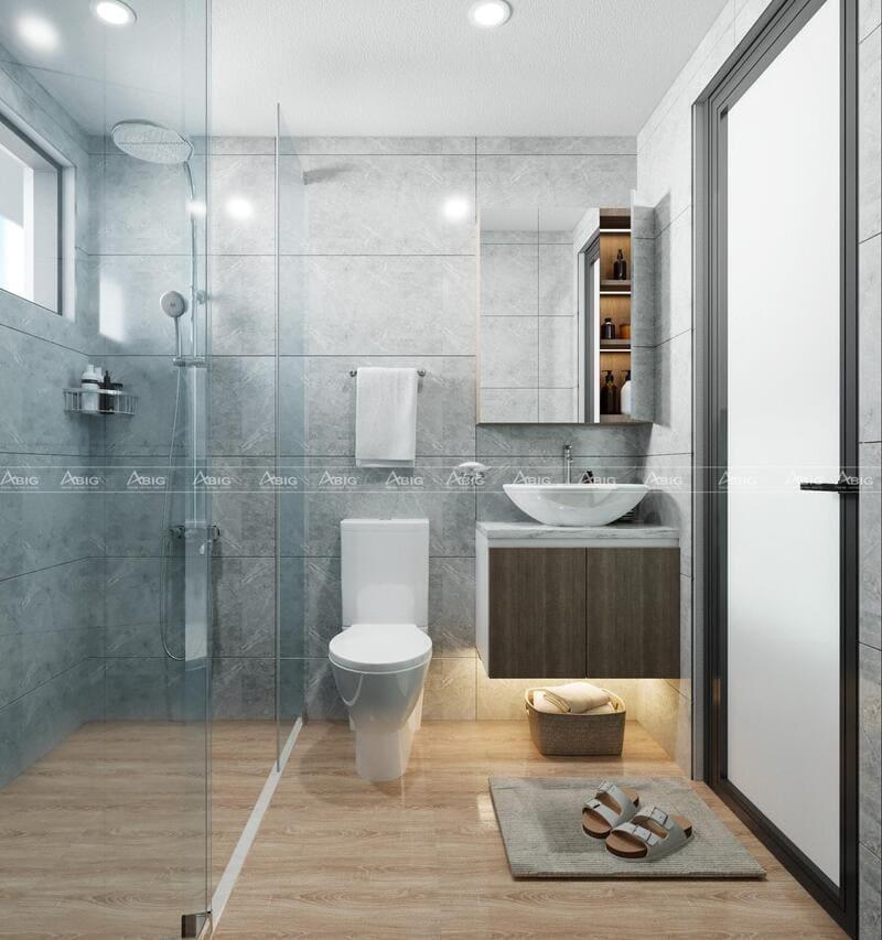 Sử dụng gạch sáng màu tạo cảm giác rộng rãi cho không gian phòng vệ sinh