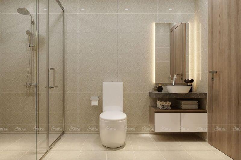 Phòng vệ sinh đơn giản nhưng đủ công năng và thẩm mỹ