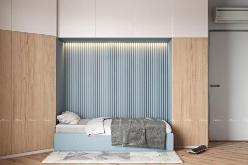 Phòng ngủ số 3 của bé trai với thiết kế giường thông minh, có thể gấp lên khi không cần dùng tới