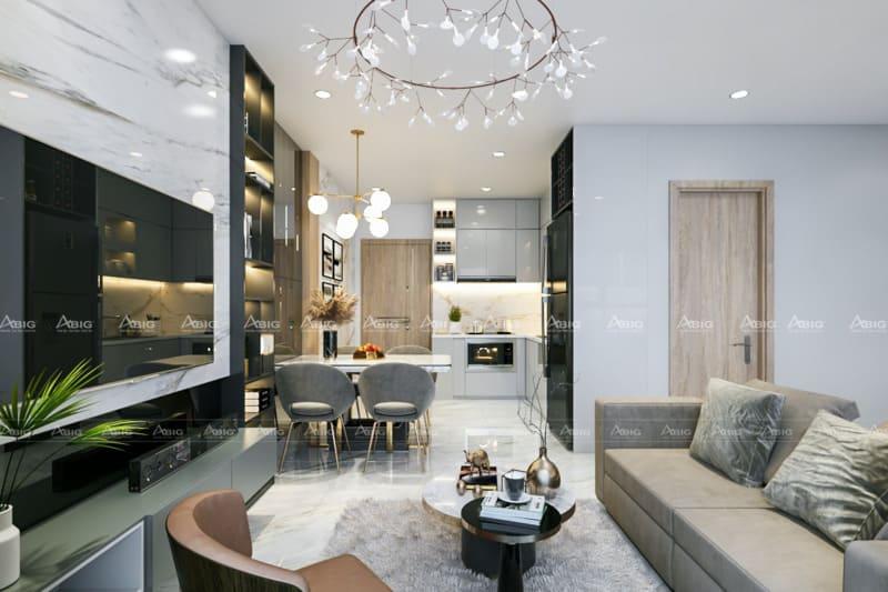 Không gian phòng khách có thể quan sát được khu vực phòng bếp