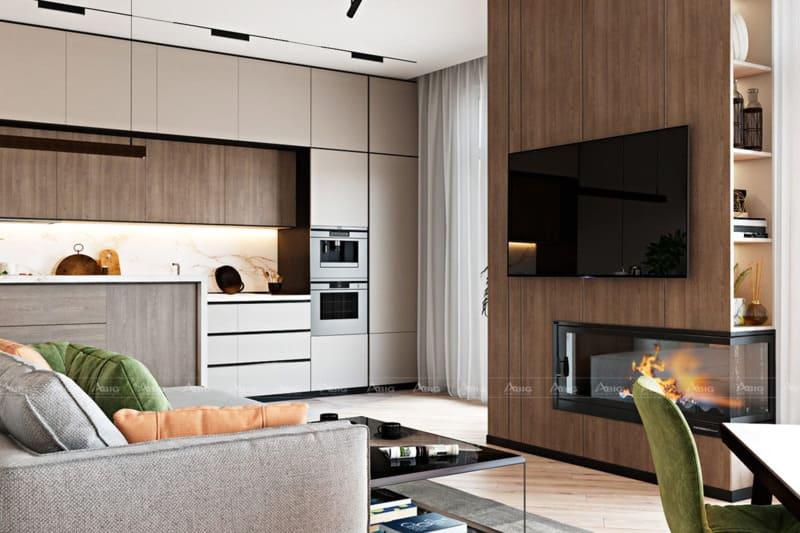 Không gian khách liền kề bếp, đi kèm những cửa sổ lớn đón năng tự nhiên