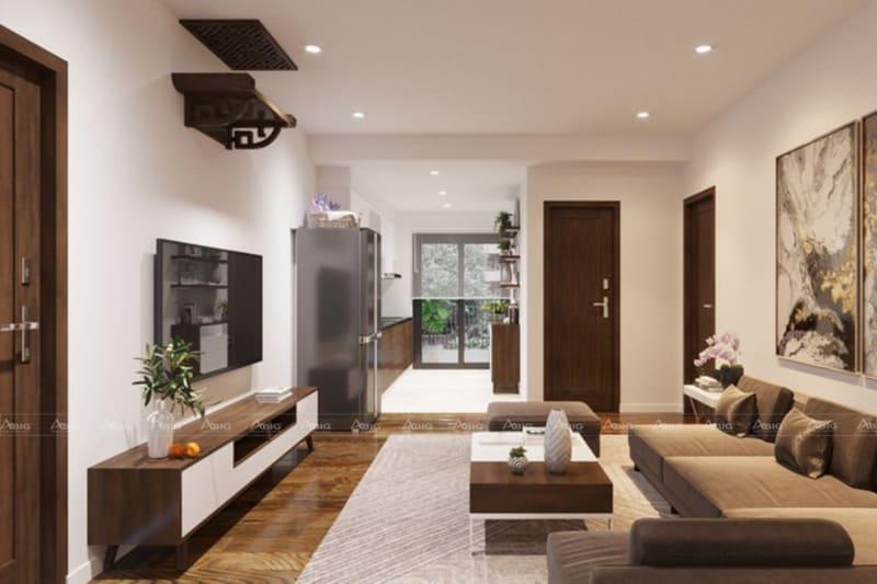 Thiết kế nội thất chung cư 70m2 liền kề từ phòng khách đến khu vực bếp nấu ăn