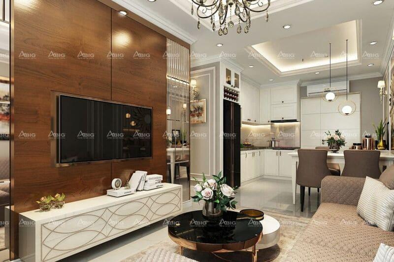 Không gian mở giữa phòng khách và phòng bếp giúp tối ưu hóa diện tích chung cư