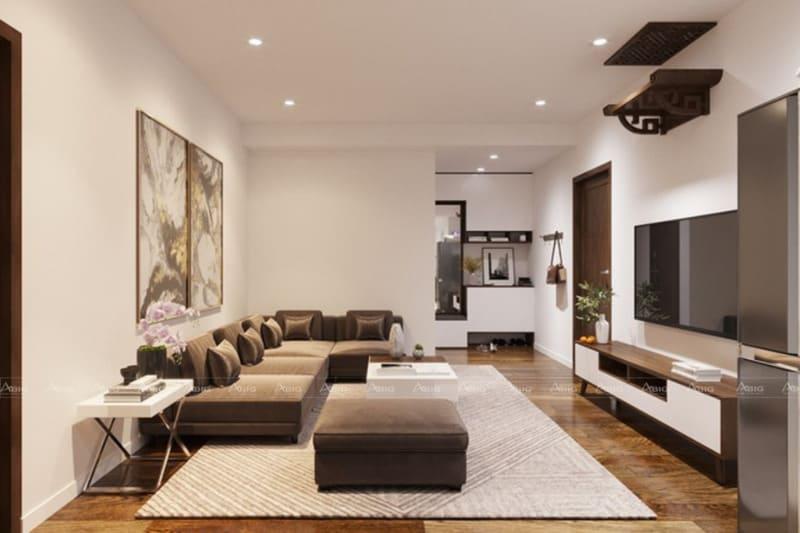Không gian chung cư sang trọng với thiết kế nội thất từ gỗ óc chó