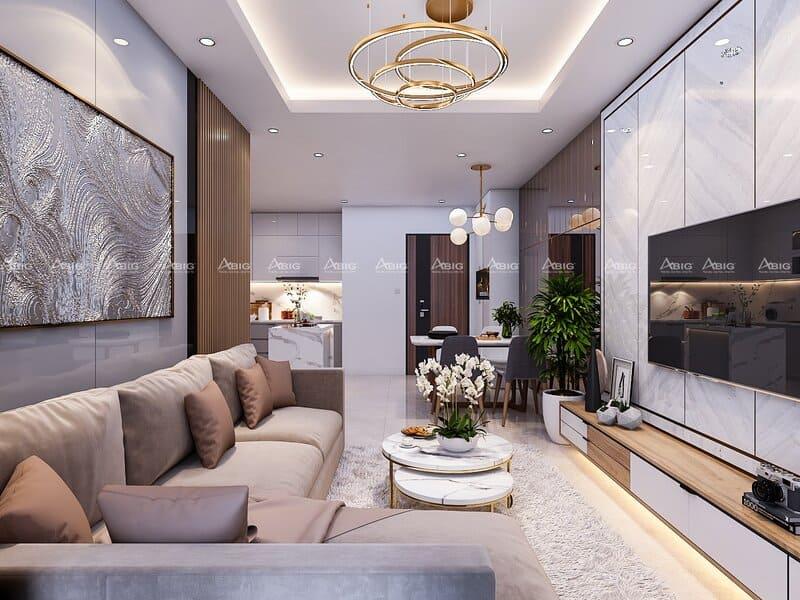 Thiết kế hệ thống cửa đón ánh sáng tự nhiên vào không gian phòng khách.