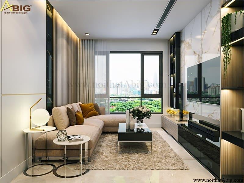 Phòng khách sử dụng gam màu trắng xám tinh tế.