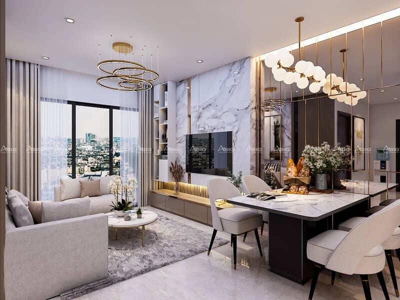Nội thất phòng khách kết hợp phòng ăn tận dụng tối đa hệ thống ánh sáng.