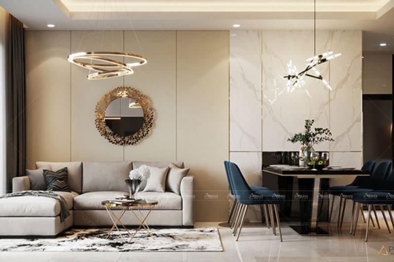 Nhà ăn và phòng khách được bày trí chung 1 không gian