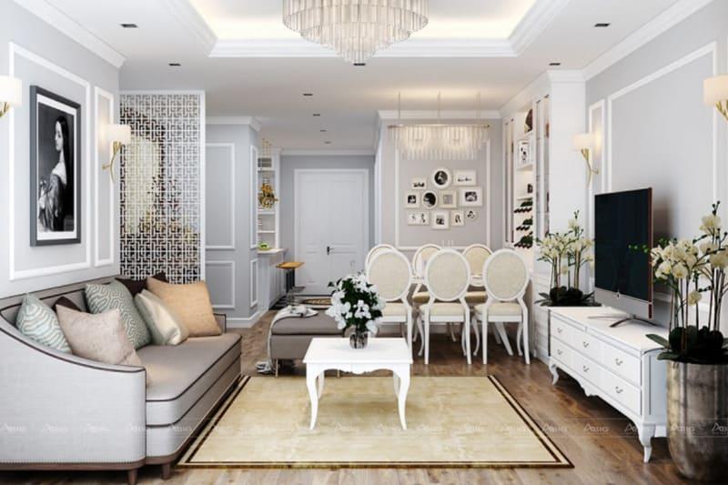 Tông trắng chủ đạo tạo nên sự nhẹ nhàng cho căn phòng