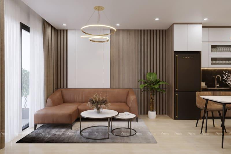 Phòng khách với tone màu sáng và đèn trang trí đặc sắc