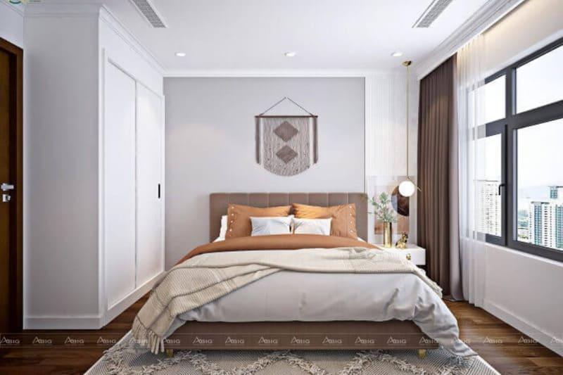 Phòng ngủ được thiết kế đơn giản nhưng không kém phần tinh tế