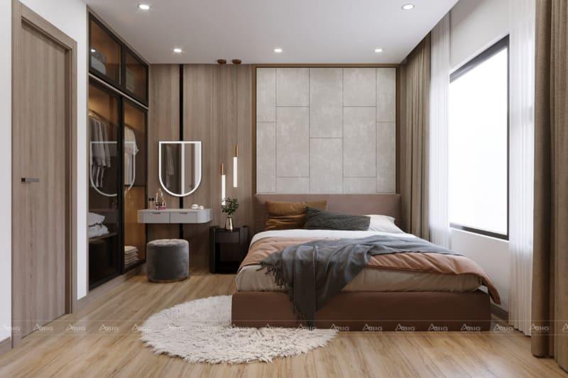Phòng ngủ hiện đại được bày trí gọn gàng và nhẹ nhàng