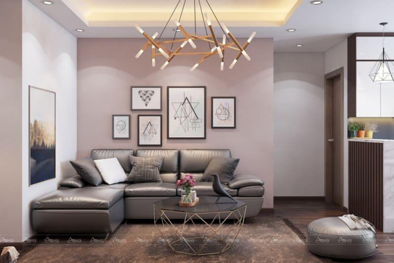 Đèn chùm và thảm trải sàn giúp gia tăng thêm vẻ đẹp cho phòng khách