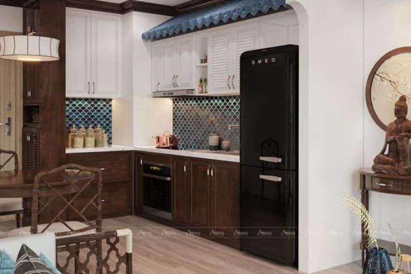 Khu vực bếp đơn giản với hoa văn kiểu truyền thống.