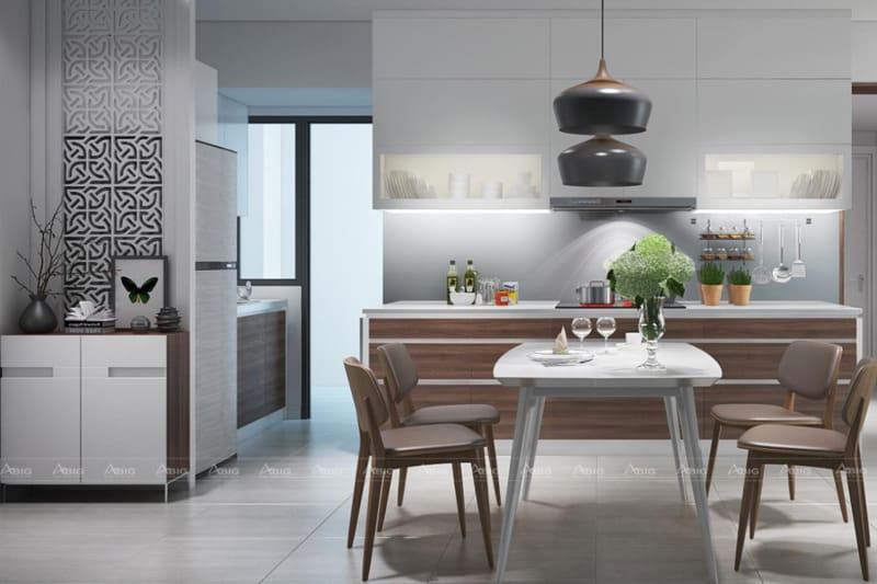 Khu vực bếp tone trắng chủ đạo được điểm xuyết ánh nâu để tăng sự ấm cúng