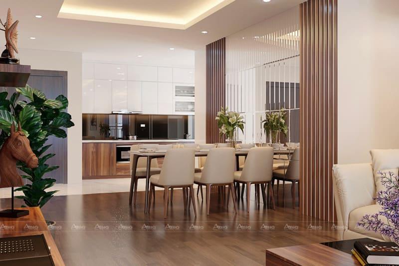 Phòng ăn kết hợp với sắc xanh lá mang đến sự tươi trẻ cho không gian
