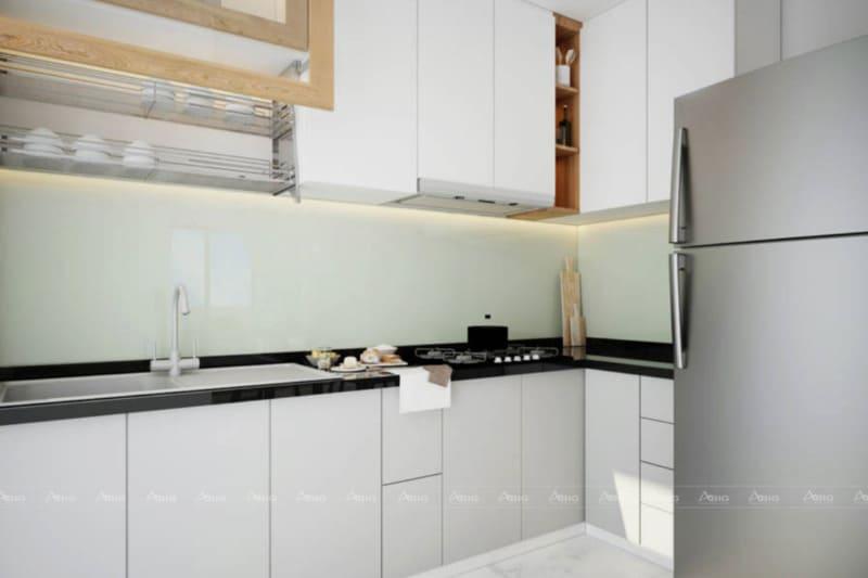 Phòng bếp đơn giản với tủ bếp chữ L làm từ chất liệu acrylic