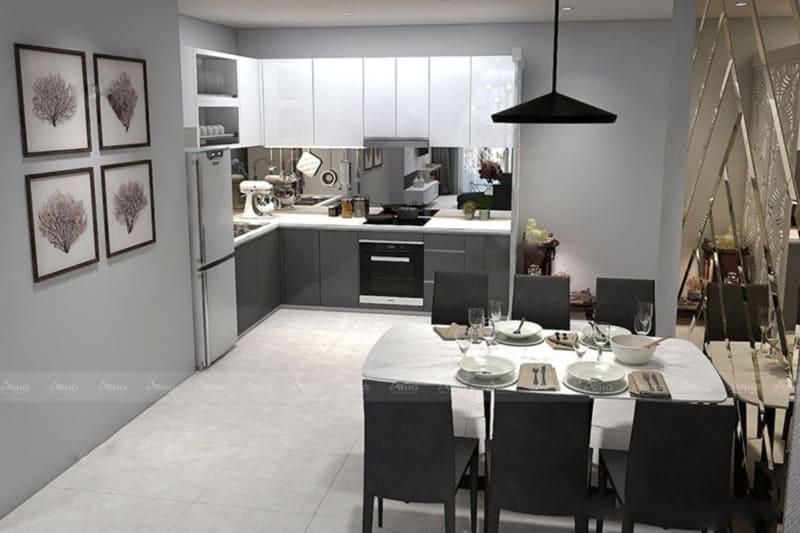 Tương tự như phòng khách, khu vực phòng bếp cũng sử dụng đèn treo trần và các bức ảnn nghệ thuật để trang trí