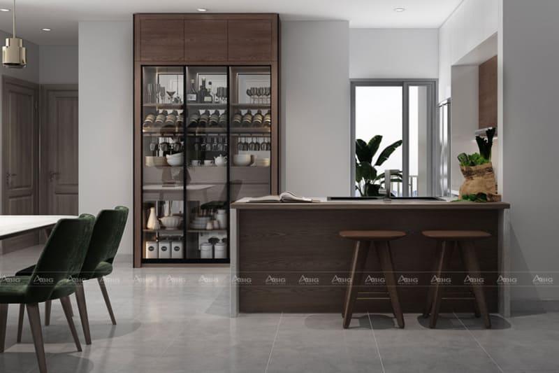 Khu vực bếp được trang trí tinh tế với màu nâu cổ điển từ chất liệu gỗ.