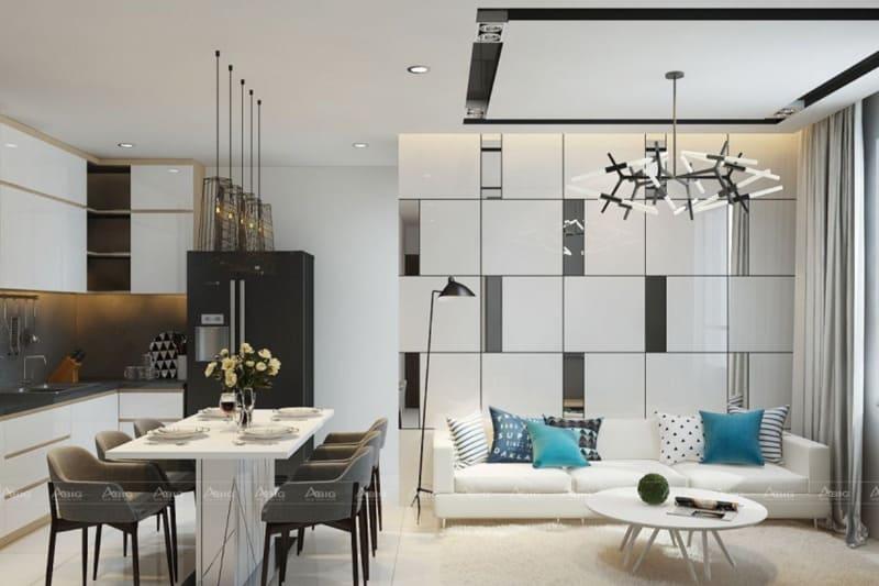 Phòng khách được thiết kế đơn giản, kết hợp với không gian phòng ăn, tối ưu diện tích sử dụng.